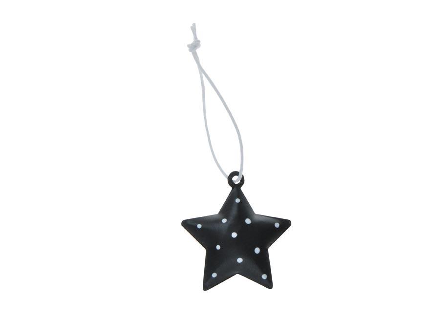 Hvězda 3ks plech 4,5cm se závěsem - černý