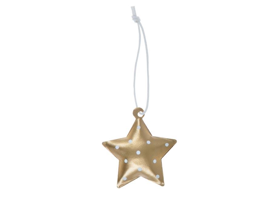 Hvězda 3ks plech 4,5cm se závěsem - zlatý