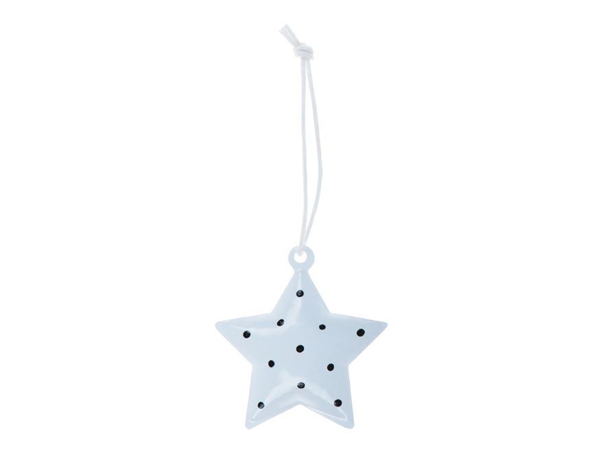 Hvězda 3ks plech 4,5cm se závěsem - bílý