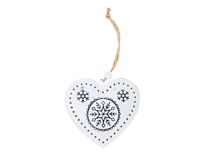 Srdce plech 7,5cm se závěsem - bílé