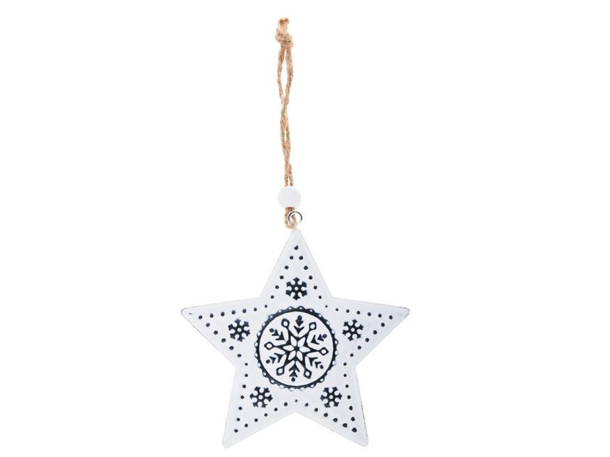 Hvězda plech 9cm se závěsem - bílá