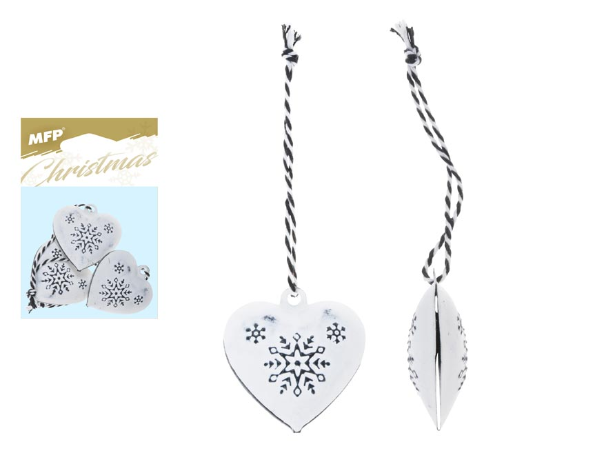 Srdce 3ks plech 4,5cm se závěsem - bílé s ornamentem