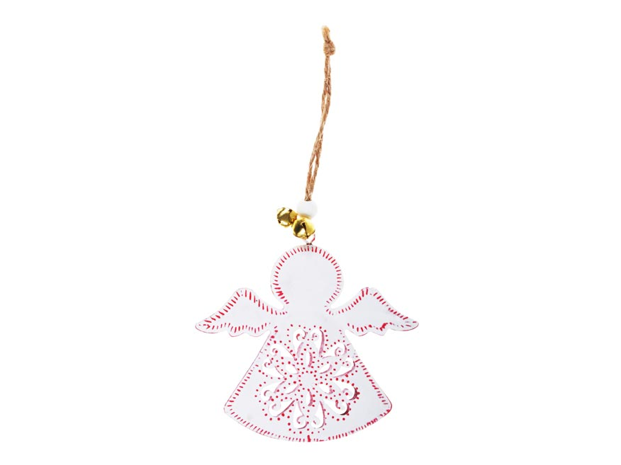 Anděl plech 9cm se závěsem - bílý s ornamentem