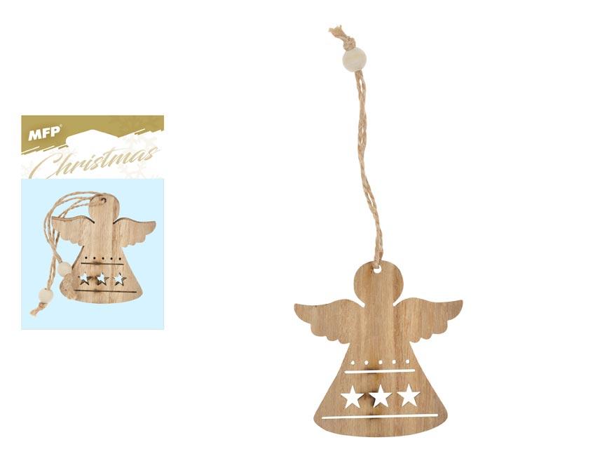 Anděl závěs dřevěný 2ks/7cm XC2018611