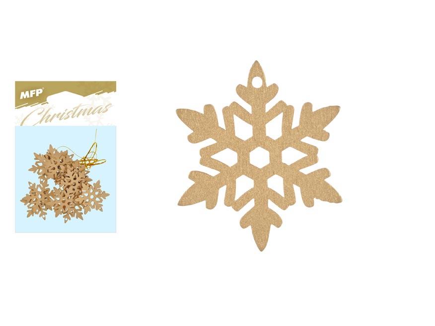 Vločka závěs dřevěný zlatý 12ks/4,5cm XC20181274