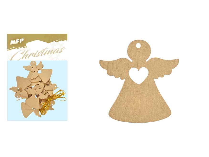 Anděl závěs dřevěný zlatý 12ks/4,5cm XC20181278