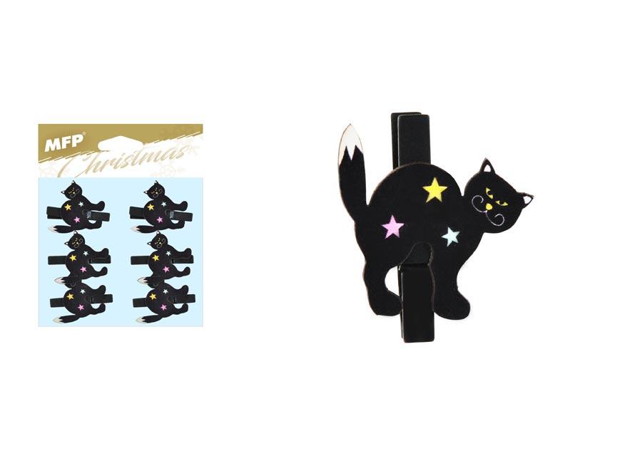 Kolíček dřevěný halloween kočka 6ks/4,8cm XC20181007