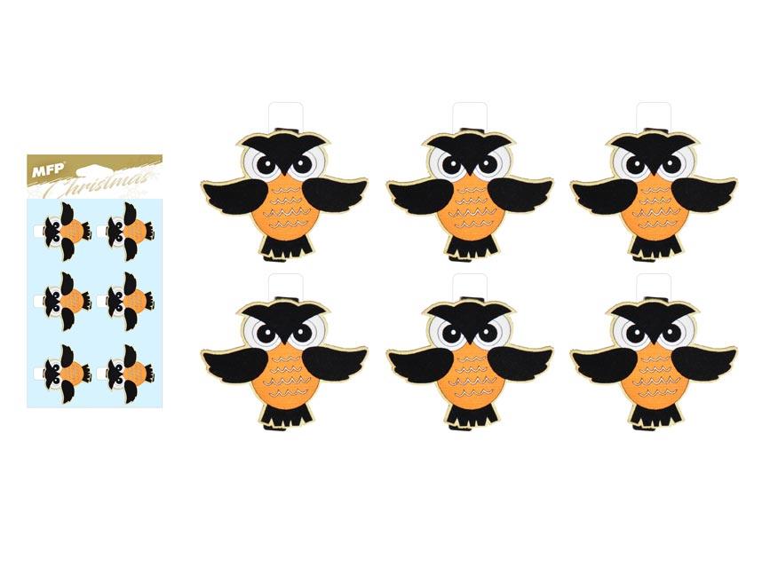 Kolíček dřevěný halloween sova  6ks/4,8cm XC20181011