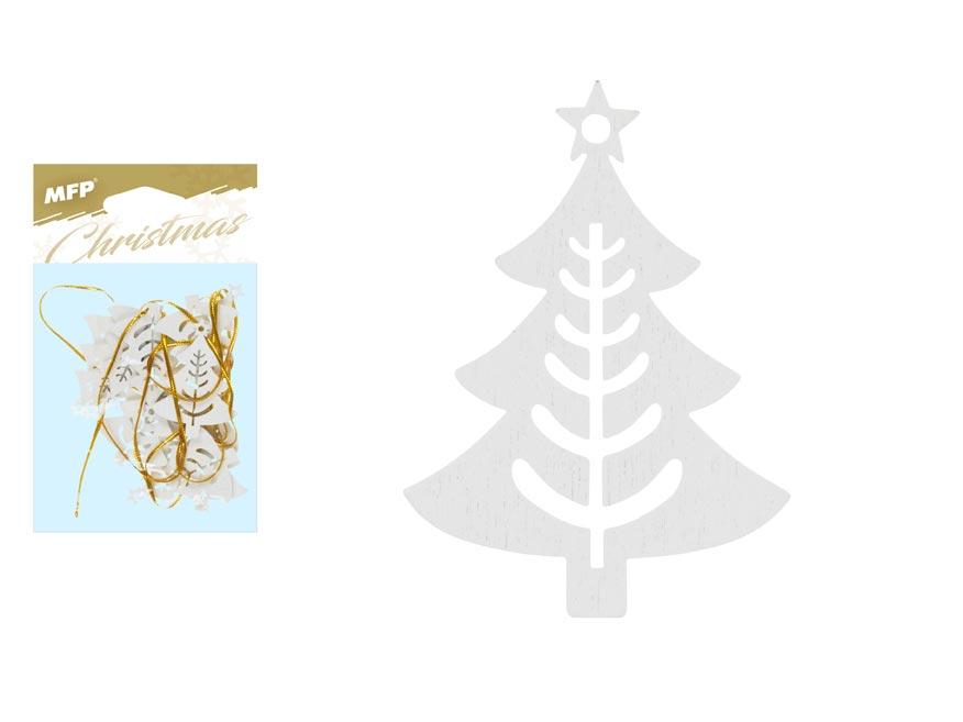Stromek závěs dřevěný bílý 12ks/4,5cm XC20181288