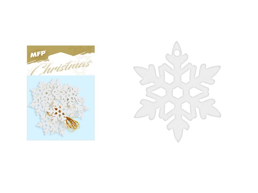 Vločka závěs dřevěný bílý 12ks/4,5cm XC20181293-1
