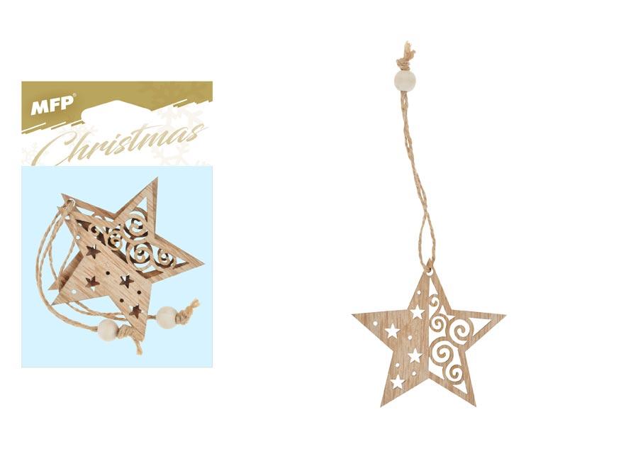Hvězda závěs dřevěný 2ks/7cm XC2018602
