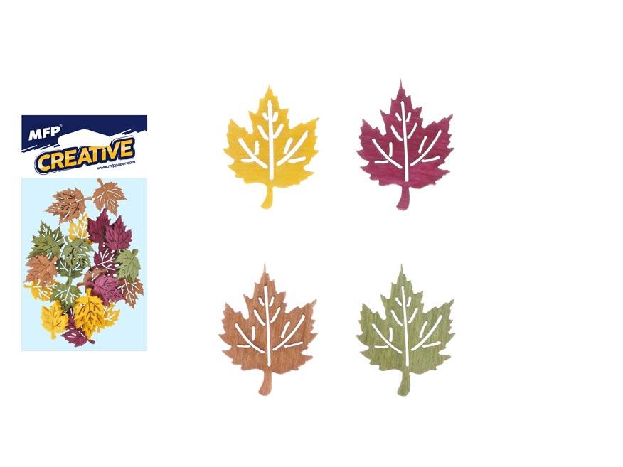 Dekorace list javor barevný 24ks 2cm mix