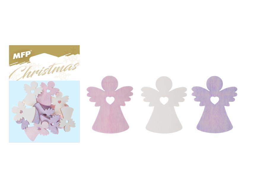 Dekorace anděl barevný  12ks 4cm mix