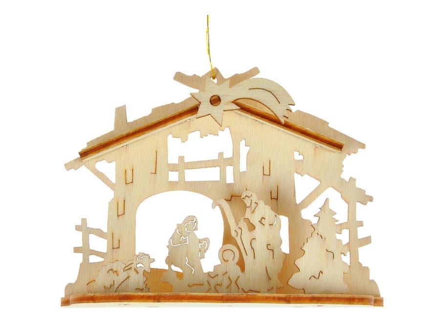 MFP 8885973 závěs vánoční dřevo 9x3,5x7cm BD-29449