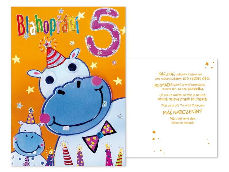 přání k 5 narozeninám Přání k narozeninám 05 CN 340 | MFP paper s.r.o. přání k 5 narozeninám