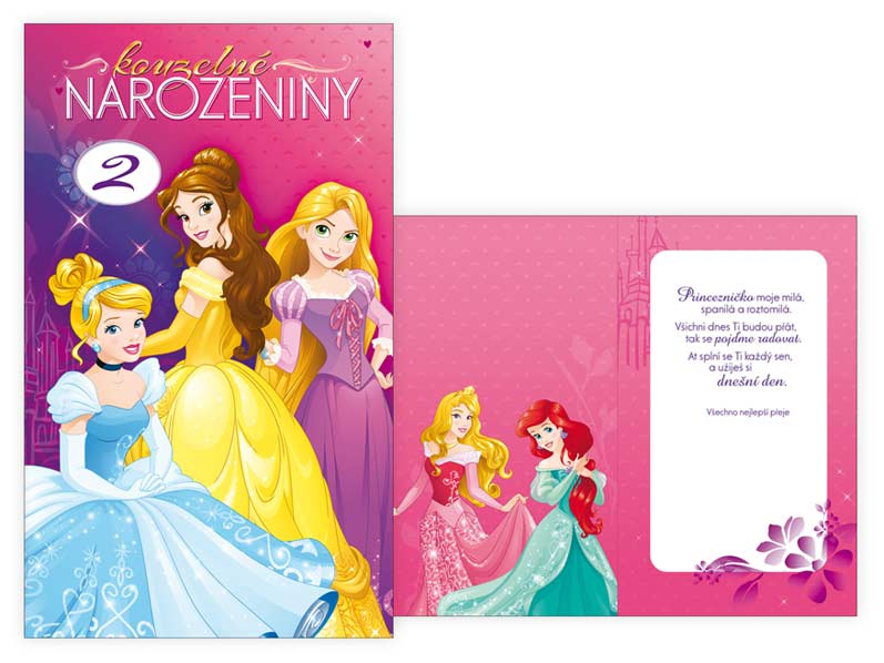 přání k narozeninám pro holčičku Přání k narozeninám otočné, dětské M33 082 W Disney (Princess  přání k narozeninám pro holčičku