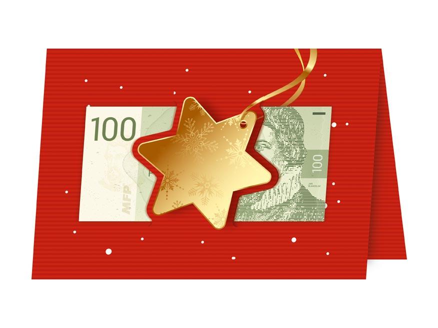 Přání Vánoční V24-385 W (výsek na peníze)